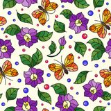 Seamless illustration vivid pattern with purple flowers and orange butterfly on light background. Seamless vivid pattern with purple flowers and orange butterfly Royalty Free Stock Photos