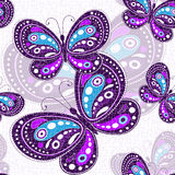 Seamless vivid pattern. With violet butterflies (vector, eps10 Royalty Free Stock Photo