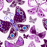 Seamless vivid pink-violet pattern. Seamless vivid pattern with violet butterflies and translucent waves (vector, eps10 Royalty Free Stock Photos
