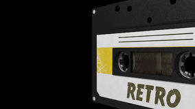Seamless VJ loop - white and yellow retro cassette. 3D stock video footage