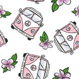 Seamless VW Kombi with flowers - Pale Pink royalty free illustration