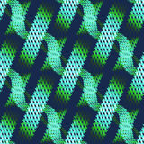 Seamless waffle-weave pattern green on dark blue in stripes diagonally Stock Photos