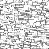 Seamless wall from stones of different sizes (drawn with ink). Royalty Free Stock Images