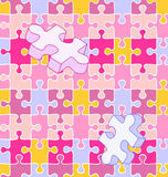 Seamless wall-to-wall autism puzzle pattern. Seamless vector swatch of colorful wall-to-wall puzzle pieces. White lines included on separate layer, so you can Royalty Free Stock Photo