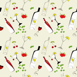 Seamless wallpaper. With glass and bottle Royalty Free Stock Photo
