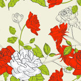 Seamless wallpaper. With rose flowers Royalty Free Stock Images