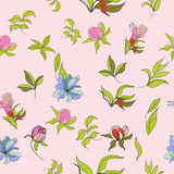 Seamless wallpaper. With flowers on pink Stock Image