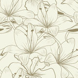 Seamless wallpaper. With Lily flowers Stock Image