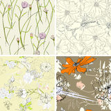 Seamless wallpaper. Set of floral seamless wallpaper Stock Images
