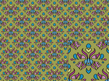 Seamless wallpaper. With hand drawn floral designs Stock Illustration