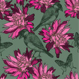 Seamless wallpaper with abstract flowers and birds, hand-drawing. Vector Stock Photo