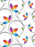 Seamless wallpaper av artstic blommor Royaltyfria Bilder