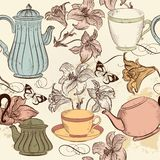 Seamless wallpaper background with hand drawn cups, teapots and Stock Photos