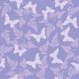 Seamless Wallpaper Background Tile. Seamless continuous wallpaper tile. Butterflies fluttering around ferns created in purple tones Stock Photo