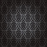 Seamless wallpaper baroque black Stock Photography