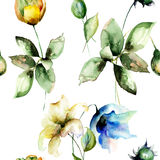 Seamless wallpaper with Beautiful flowers. Watercolor illustration Royalty Free Stock Images