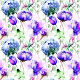 Seamless wallpaper with Beautiful flowers. Watercolor illustration Stock Photo