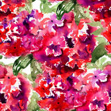 Seamless wallpaper with Beautiful Hydrangea red flowers Royalty Free Stock Photography