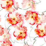 Seamless wallpaper with Beautiful Pink flowers Royalty Free Stock Photography