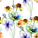 Seamless wallpaper with beautiful spring flowers Stock Image