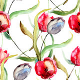 Seamless wallpaper with Beautiful Tulips flowers. Watercolor painting Royalty Free Stock Photography