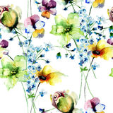 Seamless wallpaper with Beautiful wild flowers Royalty Free Stock Images