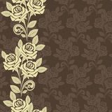 Seamless wallpaper with beige roses Stock Photo