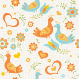 Seamless wallpaper birds, flowers and hearts Royalty Free Stock Photos