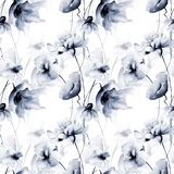 Seamless wallpaper with blue flowers. Watercolor illustration Royalty Free Stock Photo