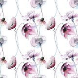 Seamless wallpaper with blue flowers. Watercolor illustration Stock Photo
