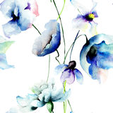 Seamless wallpaper with blue flowers Royalty Free Stock Photography