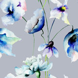 Seamless wallpaper with blue flowers Royalty Free Stock Photo
