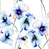 Seamless wallpaper with Blue pansy flowers Stock Photo