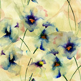 Seamless wallpaper with Blue pansy flowers Stock Photography