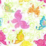 Seamless wallpaper with butterflies Stock Images