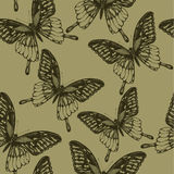 Seamless wallpaper with  butterflies, hand-drawing. Vector illus Royalty Free Stock Photo