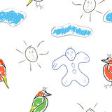 Seamless wallpaper children's drawings Stock Photos