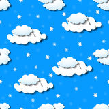 Seamless wallpaper with clouds and snowflakes. Vector illustration. Eps 10 Stock Photo