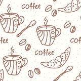 Seamless wallpaper with coffee Stock Images