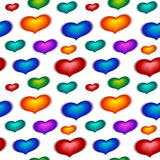 Seamless wallpaper with color hearts Stock Photography