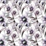 Seamless wallpaper with Colorful flowers. Watercolor illustration Royalty Free Stock Photography
