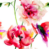 Seamless wallpaper with Colorful flowers Stock Photo