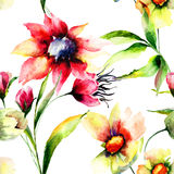Seamless wallpaper with Colorful flowers Stock Photography