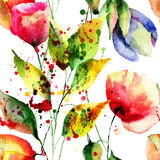 Seamless wallpaper with Colorful flowers Royalty Free Stock Image