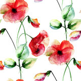 Seamless wallpaper with Colorful Poppies flowers Royalty Free Stock Photography