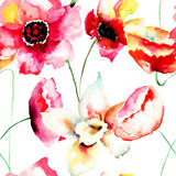 Seamless wallpaper with Colorful red flowers Royalty Free Stock Photo