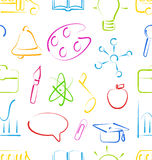 Seamless Wallpaper with Colorful Set School Objects Royalty Free Stock Image