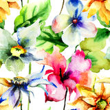 Seamless wallpaper with Colorful Summer flowers Royalty Free Stock Photos