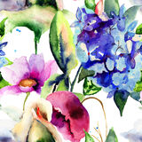 Seamless wallpaper with Colorful Summer flowers. Watercolor painting Royalty Free Stock Image