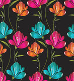 Seamless wallpaper of creative flowers vector illustration